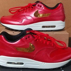 Nike Air Max 1 Red Gold Sequin Women Size 8 NEW